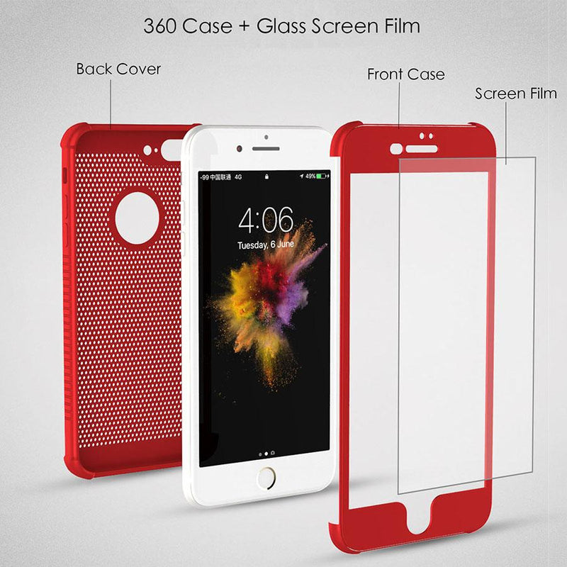 360 Full Body Cover Protective Heat Dissipation Phone Cases for iPhone 8 7 6 6s Plus With Free Glass Film Old - bevsu