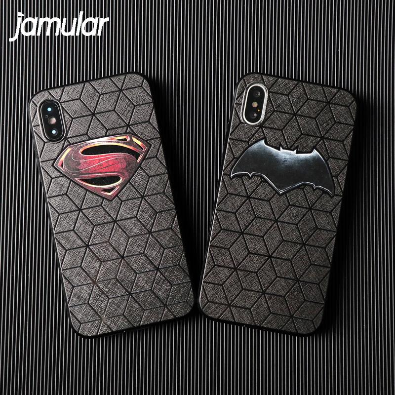 Batman Superman Soft TPU Cartoon Grid Phone Case For iPhone X 8 7 6 6S Plus - Bevsu