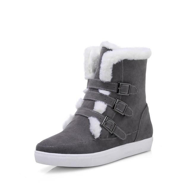 Boots - Buckles Up Women Leisure Warm Fur Snow Boots - Bevsu