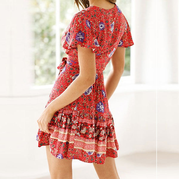 Wrap short-sleeved bohemian print beach summer dress