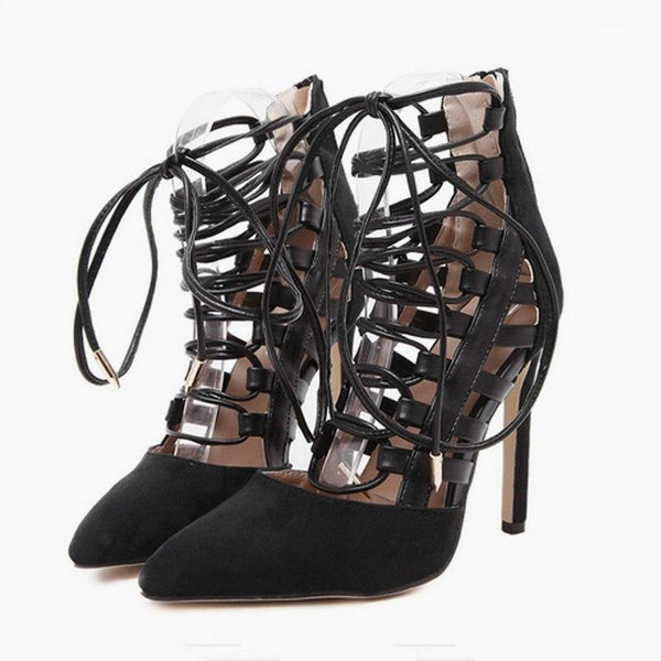 Women Shoes - Sexy Thin High Heels Ankle Strap Cross Tied Retro Gladiator Sandals
