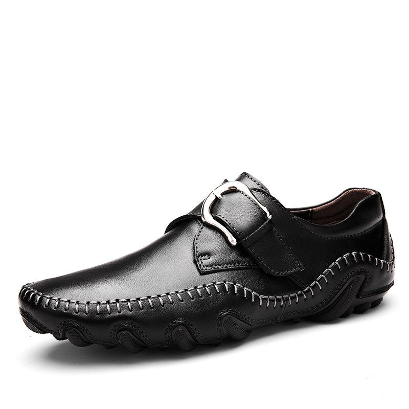 Mens Casual Leather Shoes Brands Genuine Leather Men Loafers Luxury Moccasins Black Brown Slip on Boat Flat Shoes Men