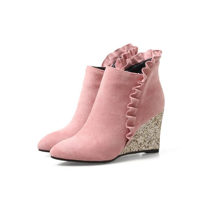 Boots - Fashion Winter Ruffles Women's Wedges Ankle Boots - Bevsu