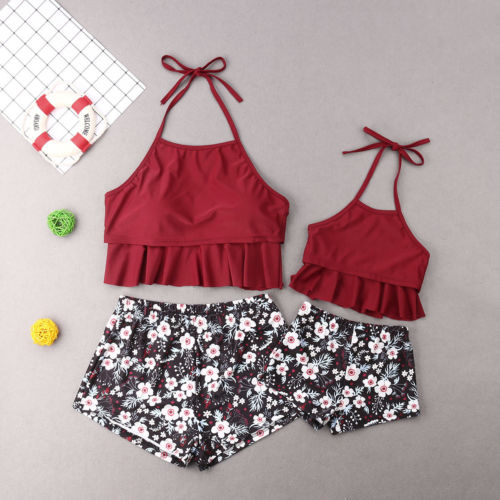 Mother daughter floral print swimsuit