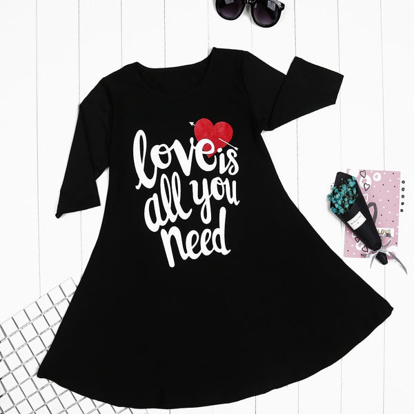Mom and daughter love letter print mini dress