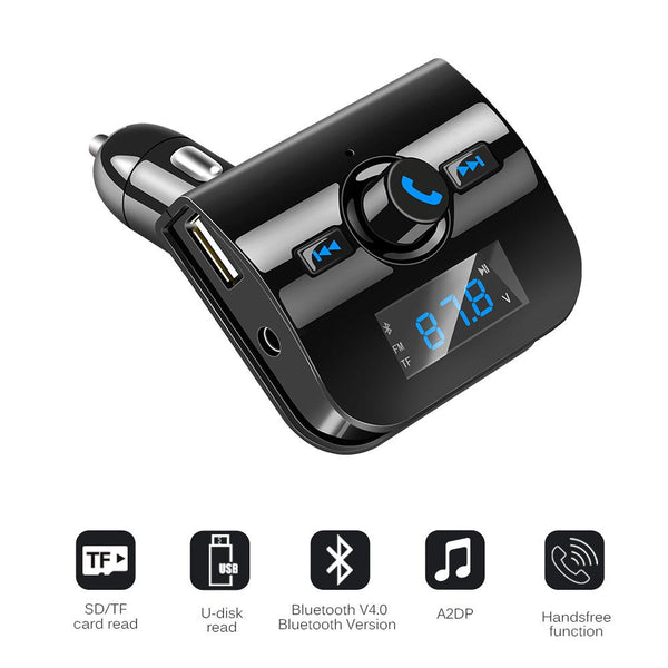 Bluetooth Car Kit-Music Player FM Transmitter Hands-free Modulator TF Slot With 3.1A USB Charger - Bevsu