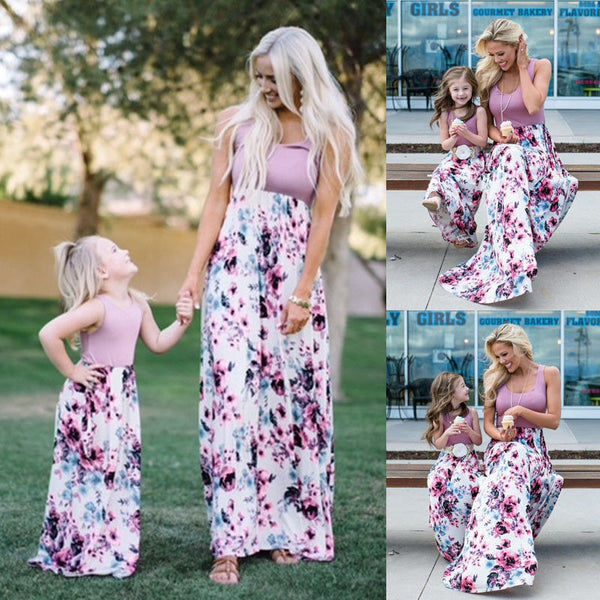 Mom Girl Flower Decorated Dress