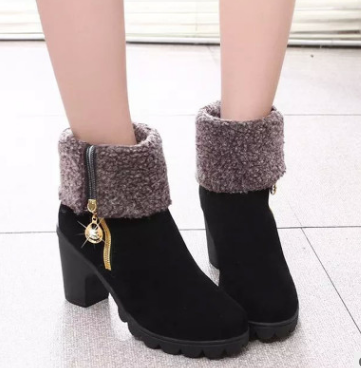 Plain Chunky High Heeled Velvet Round Toe Casual Date Short High Heels Boots