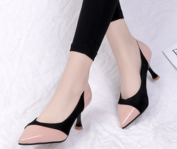 Color Block High Heeled Point Toe Date Pumps