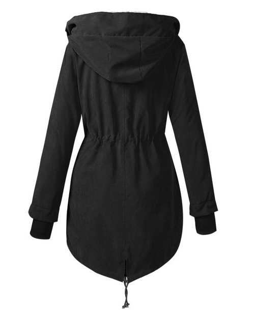 Hooded Drawstring Zips Fleece Lined Coats