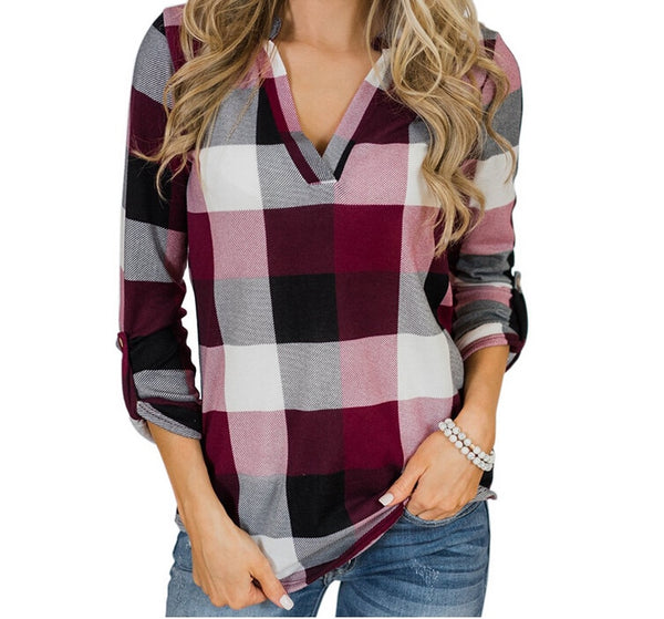 Button plaid V-neck shirt