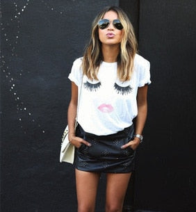 Eyelash red lips print short sleeve t-shirt