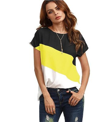 Tri-color stitching T-shirt
