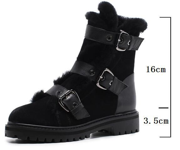 Boots - Buckle Rabbit Fur Genuine Leather Women Flat Ankle Boots - Bevsu