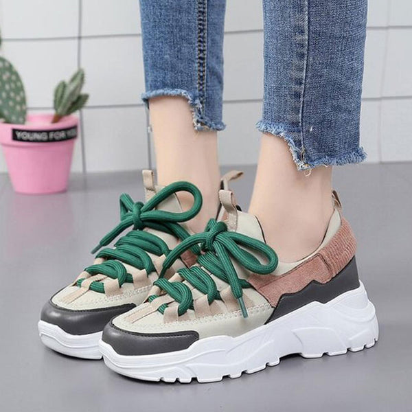 Women Suede Leather Lace Up Sneakers