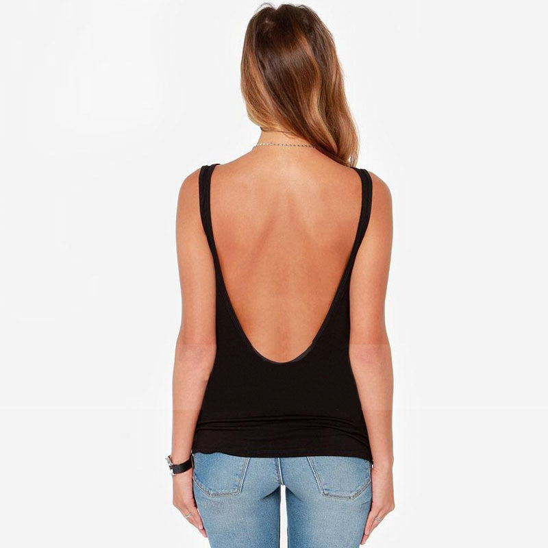 Open back V-neck vest