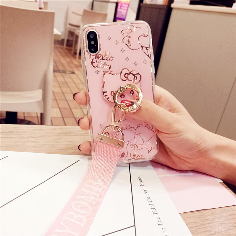 Bing Diamond back Case For iPhone 8 7 Plus Cover Jewelled Finger Ring - Bevsu