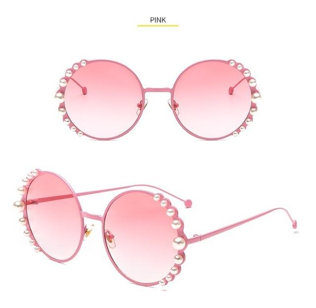 Fashion Alloy Frame Round Pink Metal Sun Glasses