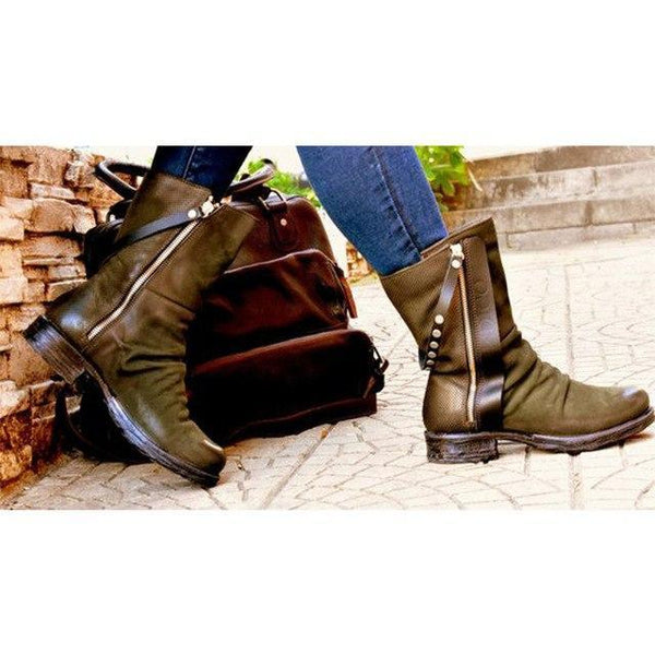 2019 Women Fashion Retro Buckle Casual Ankle Boots