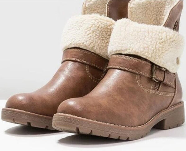 2019 Women Warm Retro Leather Martin Ankle Boots