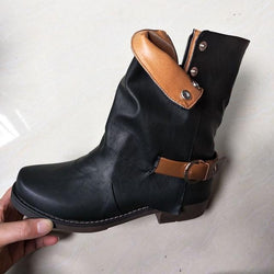 Boots - Fashion Women Turned-over Edge Ankle Boots (buy one get 5% OFF,2 get 10% OFF, 3 get 20% OFF) - Bevsu