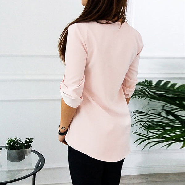 V-neck zipper loose shirt