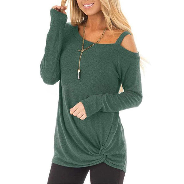 Sexy long sleeve one-shoulder T-shirt