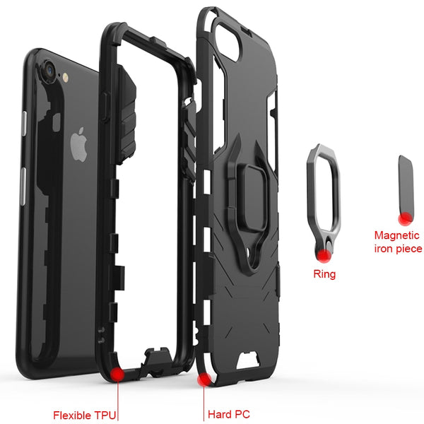 Shockproof Armor Stand Holder Ring Cover Phone Case For iphone 7 8 X
