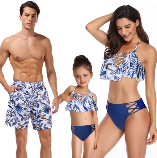Wrinkle mother daughter swimsuit