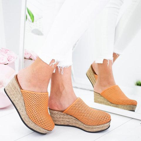 2019 Women's Vintage Hollow-out Closed Toe Wedges Sandals Slippers