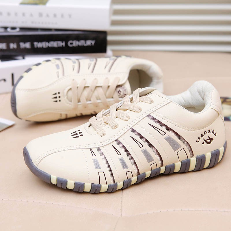 KUYUPP Fashion Women Shoes Breathable Leather Woman Flats Lace Up Trainers Casual Outdoor Low Top Shoes Zapatillas Mujer YD122 - Bevsu