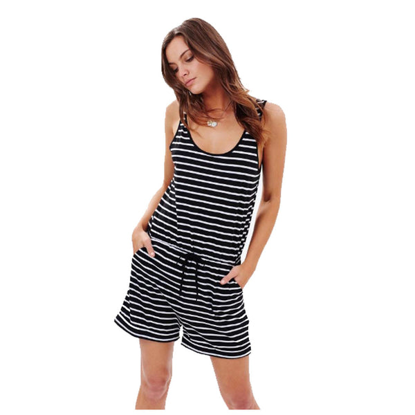 Best selling new fashion women's striped jumpsuit