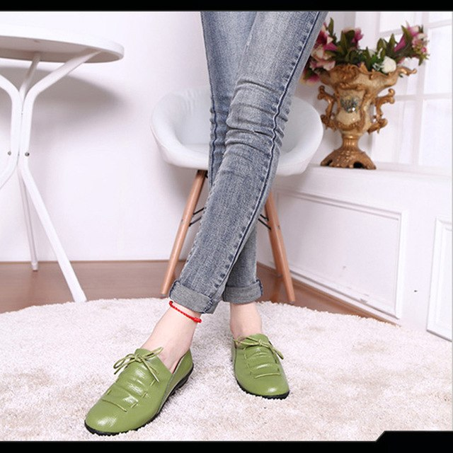 New 2017 Genuine Leather Women Flats Lace Up Ladies Flat Shoes Casual Driving Shoes Female Moccasins Fashion Loafers SNE-634 - Bevsu