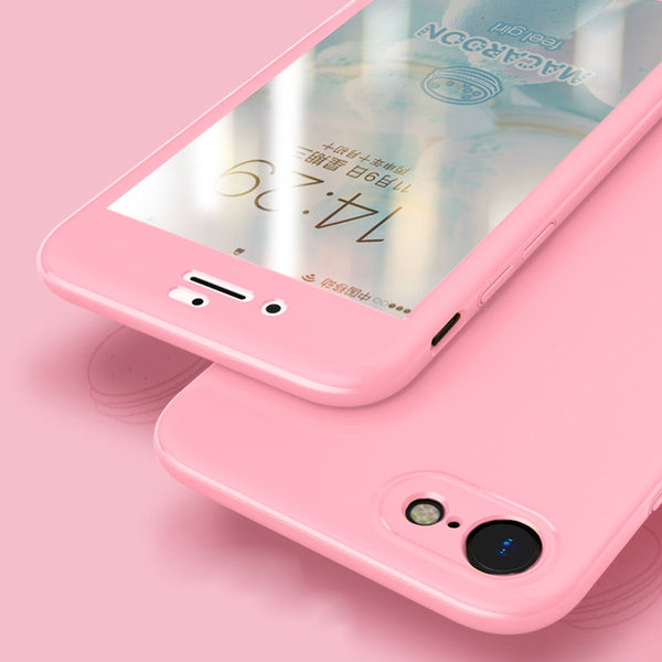 360 Degree Hard PC Protective Phone Case For iPhone 6 7 8 Plus X Glossy Front Back Cover Full Body Cases Protection Coque - bevsu