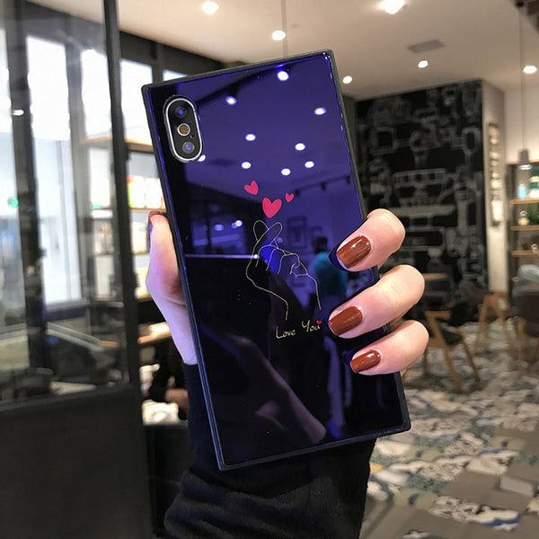 Blue ray glass Square phone case For iPhone 8 iphone X 7 8 plus case 8plus Luxury Glossy cute Heart kiss Lips Patterned cover