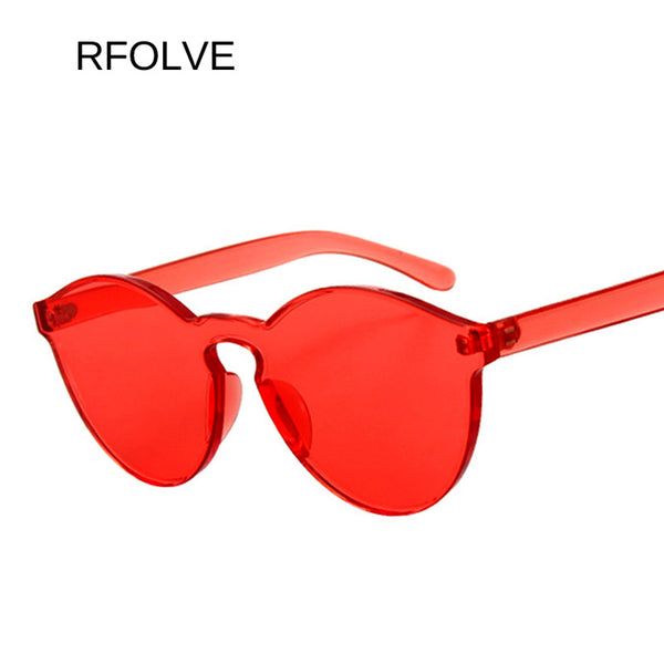 RFOLVE Color Round Rimless Sunglasses Women Brands Sun Glasses For Women summer Sun protection Ladies Goggles UV400 Shades R8067 - Bevsu