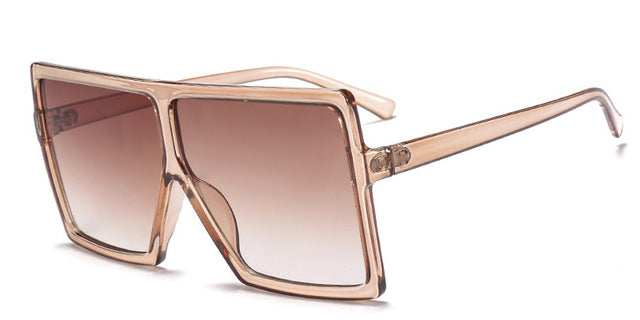 RFOLVE Oversized Sunglasses Women GG Brand Square Sun Glasses Brown Black Pink Lens Shades UV400 Ladies Goggles Low price R8233 - Bevsu