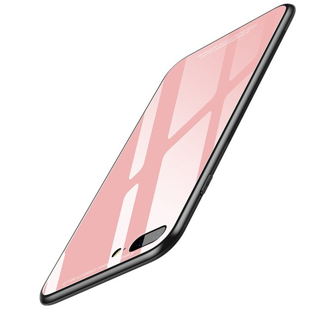 for iPhone8 Glass case for iPhone 8 Case for iphone 8 7 Plus Luxury Protective Back Cover Pink Shockproof - Bevsu