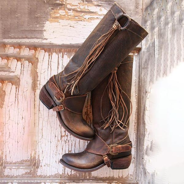 women boots-Women Vintage Knee High Boots Fashion Female Buckle Solid Flats Shoes