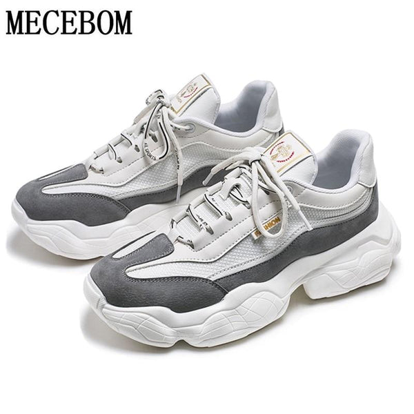 Trend Men's Sneakers Gray Thick Sole Dad Shoes Mesh+Suede  Shoes
