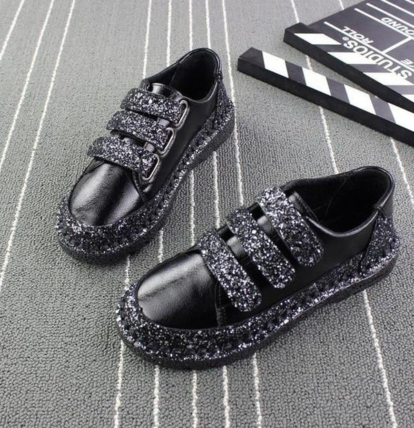 Women Flats red Black Silver Shoes Rhinestone Bling Casual Shoes