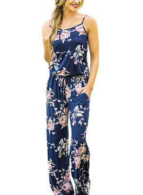 Fashion trend sling print loose jumpsuit