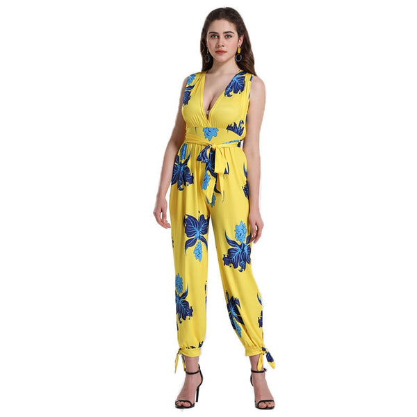 Printed sexy sleeveless V-neck high waist jumpsuit