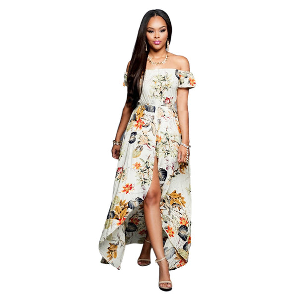 Sexy off-the-shoulder print split long dress