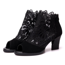 Daily Chunky Heel Embroidery Peep Toe Zipper Boots