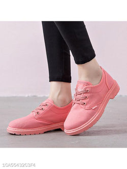 Plain Flat Round Toe Casual Short Sneakers