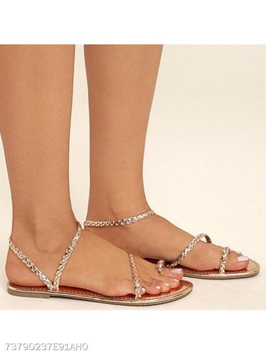 Bohemian Flat Ankle Strap Peep Toe Casual Flat Sandals