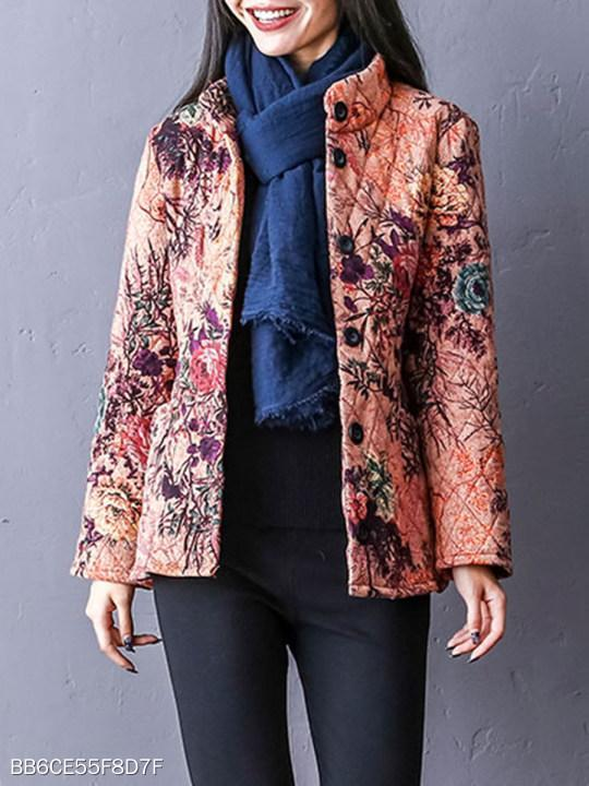 Band Collar Single Breasted Floral Coat
