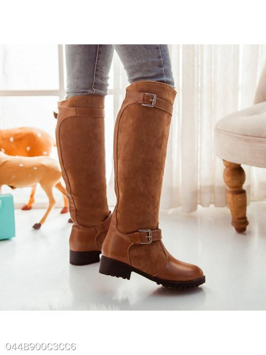 Plain Low Heeled Round Toe Date Outdoor Knee High Flat Boots