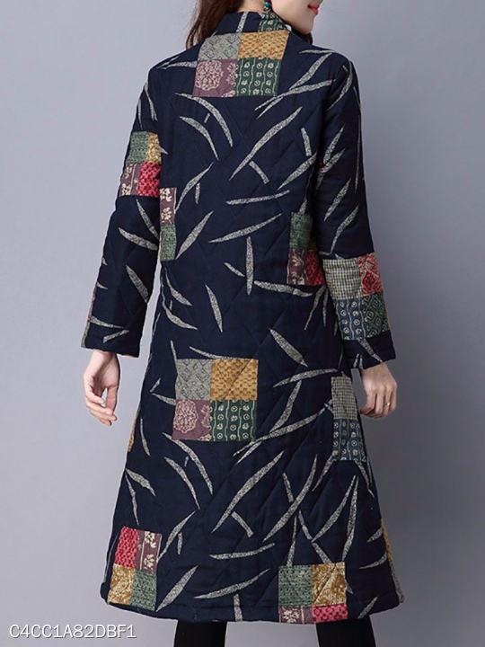 Band Collar Single Breasted Abstract Print Coat